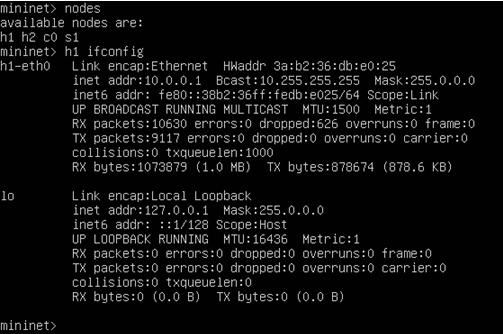 sFlow中Mininet主机Host1的IP地址查看